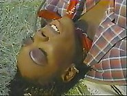 Ebony Tranny Cums During Interracial Fucking