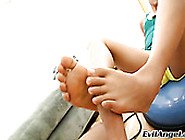 Slender Asian Whore Pleases Her Horny White Boy With Steamy Foot