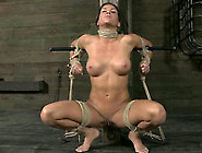 Big Breasted Dark Haired Milf With Pinned Nipples Squats Down Al