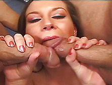 Sara Stone Mixing The Tastes Of Two Stiff Cocks At The Same Time