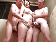 Ty Brunette Fucking Two Older Studs In A Bathroom Threesome