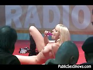 Hot Blonde Masturbates On Stage In Public