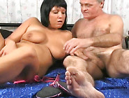Skanky Brunette Gets Fucked By An Old Man In Front Of The Camera