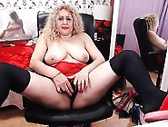 Tubby Blonde Takes Off Her Red Lingerie To Finger Her Plump