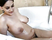 Busty Indian Model With Hairy Pussy In Solo Action In The Bathtu