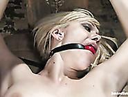 Bondageable Blonde Gets Her Soaking Shaved Cunt Fucked Missionar