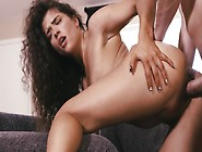 Adorable Curly-Haired Latina Gives Blowjob And Gets Screwed
