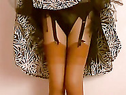 Kinky Slut Flashes Her Stockings And Panties In Homemade Clip