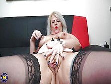 Busty Granny With Silver Hair Finger-Fucks Her Horny Cunt