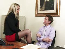 Blonde Milf Boss Sindy Lang In Sexy Stockings Always Gets Her Wa