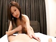 Cute Asian Girl With Tiny Tits Strokes A Cock And Swallows