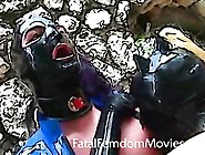 Big Tittted Latex Slut Milks Bound Slaves Balls Dry