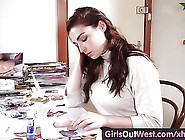 Girls Out West - Busty Amateur Toys Her Hairy Snatch