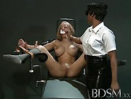 Cute Blonde Slave Babe Is Being Trained By Her Mistress In A Ver
