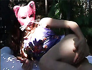 Redhead Skinny Masked Whore Adores Outdoors Cock Sucking