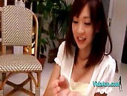 Asian Girl Giving Blowjob Cum To Palm On The Carpet In The Sitti