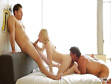 Young Girl Blond Fuck In Pussy By Two Guys With Big Dicks