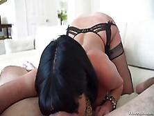 Dark Haired Woman In Stockings,  Veronica Avluv Is Kneeling On Th