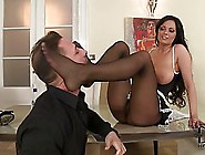 After A Busy Day,  A Naughty Mature Maid Is Giving A Nice Footjob