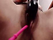 Schoolgirl Uses Vibrator On Clit And Toy In Pussy.