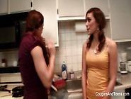 Busty Milf Teaches Young Brunette How To Cook & Then Som
