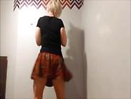 Sexy Blonde Schoolgirl Shaking Big Booty Sexy Dance
