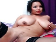 Huge Tited Latina Stuck With Dildo In Pussy