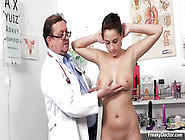Old Chunky Doctor Checks Big Tits And Pink Pussy Of Young Fattie