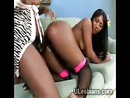 Two Twisted Ebony Lesbian Whores Fuck With Huge Dildo