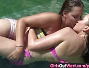 Girls Out West - Lesbian Swimming Pool Oral Sex