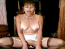 Stocking-Clad Cougar With Big Natural Tits Enjoying A Hardcore V