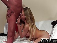 Young Blonde Slut Spreads Her Legs Wide Open For An Elderly Guy