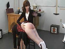 Ginger Spanked In The Classroom