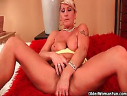 Grandma Renata With Her Hanging Big Tits Is Dildoing Her Hairy C