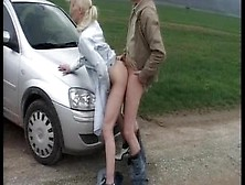Blonde German Whore Will Be Banged On A Car Hood