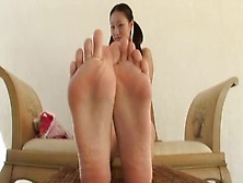 Asian In Flip-Flops Strips And Gives Footjob