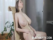 Busty Buffy Massages Her Juggs And Pussy With A Strawberry