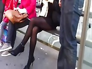 Pantyhose,  High Heels And Short Skirt At Bus-Stop