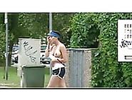 Big Boobs Public Jogging