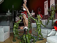 3D Christmas Monsters Fuck Babe!