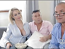 Married Blonde Is Sucking Her Neighbor's Dick While Another