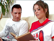 Brunette Cheerleader Tiffany In Uniform Smashed In Close Up