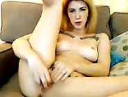 Busty Tattooed Brunette Suck And Fuck A Dildo