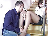 Hot Milf In Black Panthose Feet Licking,  Foot Job,  Fuck