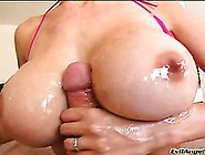 Busty Brunette Milks A Massive Dick With Her Tits And Skilled Ha