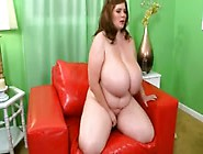 Bbw With Giant Boobs Fucks With Dildo