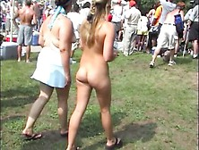Naked Blonde Girl In Public At Nude Event