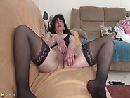 Pink Lipstick And Stockings On A Solo Fondling Milf