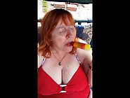 Mature Sunbather With Ice Lolly