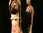 Hot Blondie Receiving Lezdom Treatment By Tall Brunette Skank